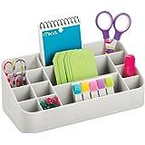 mDesign - Organizador de oficina y de escritorio - 14 compartimientos - Gris claro