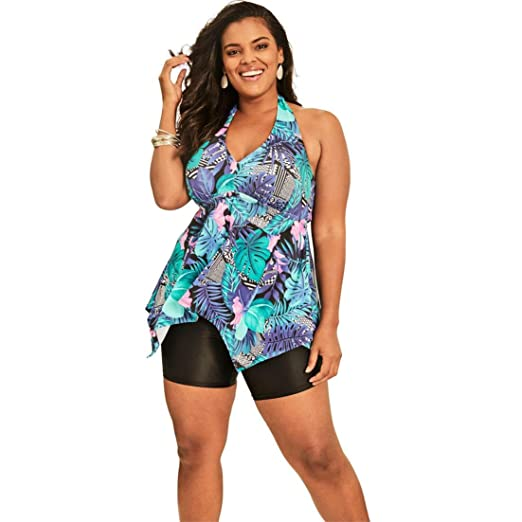 a61311c680b92 Swimsuits For All Women s Plus Size Flared Tankini Top with Bust Support -  Blue Tropical Floral