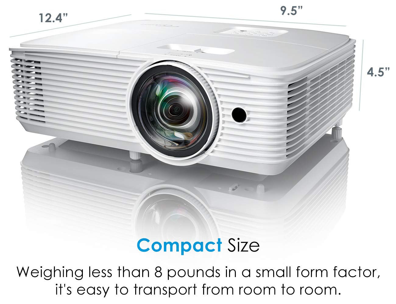 Optoma EH412ST Short Throw 1080P DLP Professional Projector | Super Bright 4000 Lumens | Business Presentations, Classrooms, or Meeting Rooms | 15,000 hour lamp life | Speaker Built In | Portable Size by Optoma (Image #8)