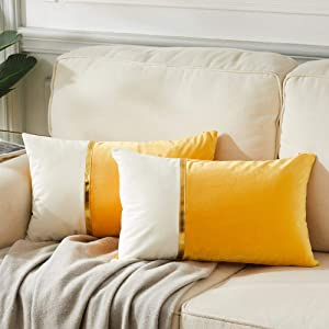 Fancy Homi 2 Packs Decorative Throw Pillow Covers 12x20 Inch for Living Room Couch Bed, Yellow and White Velvet Patchwork with Gold Leather, Luxury Modern Home Decor, Lumbar Cushion Case 30x50 cm