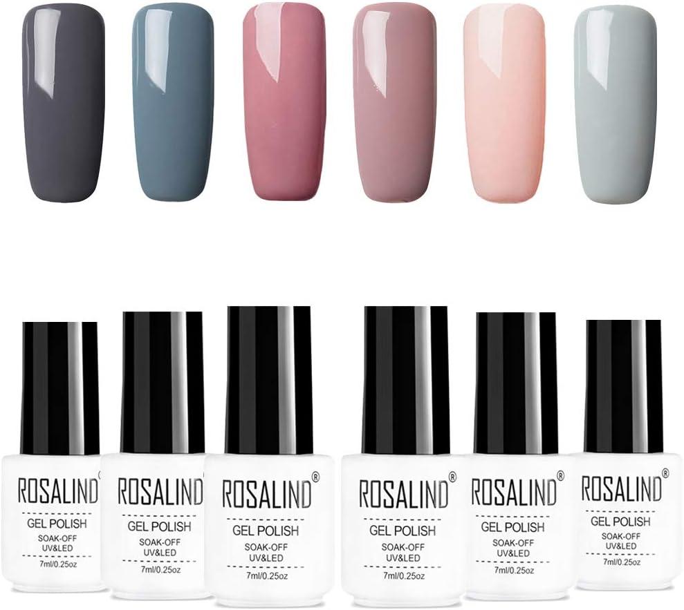 ROSALIDN esmalte semi-permanente para uñas kit, 6pcs/lot Color desnudo uv gel polish manicura set, 7ml…