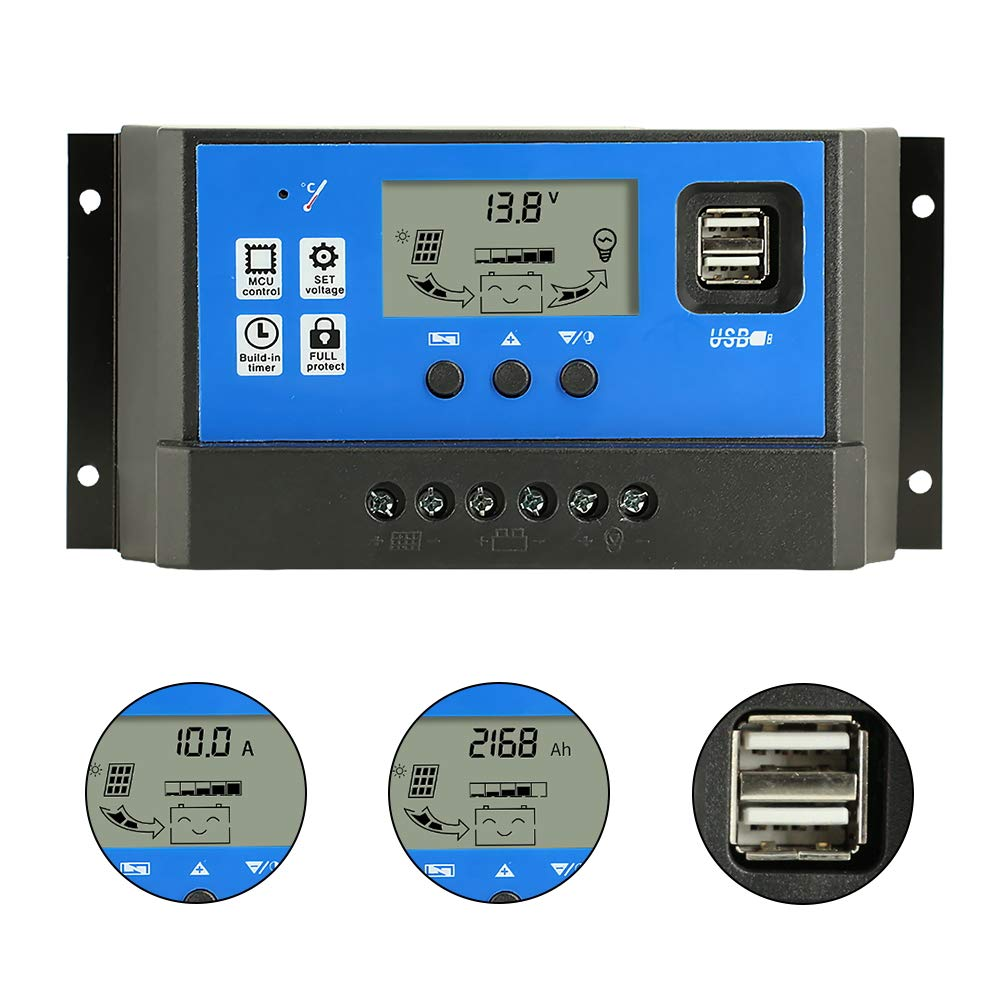 PowMr 60A Solar Charge Controller,Intelligent USB Port Display 12V/24V Auto Charge Regulator by PowMr