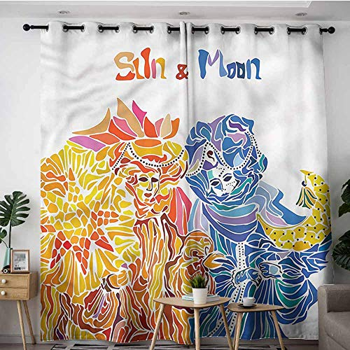 (XXANS Thermal Insulated Blackout Curtains,Sun and Moon,Venetian Festival Folk,Curtains for Living Room,W84x84L)