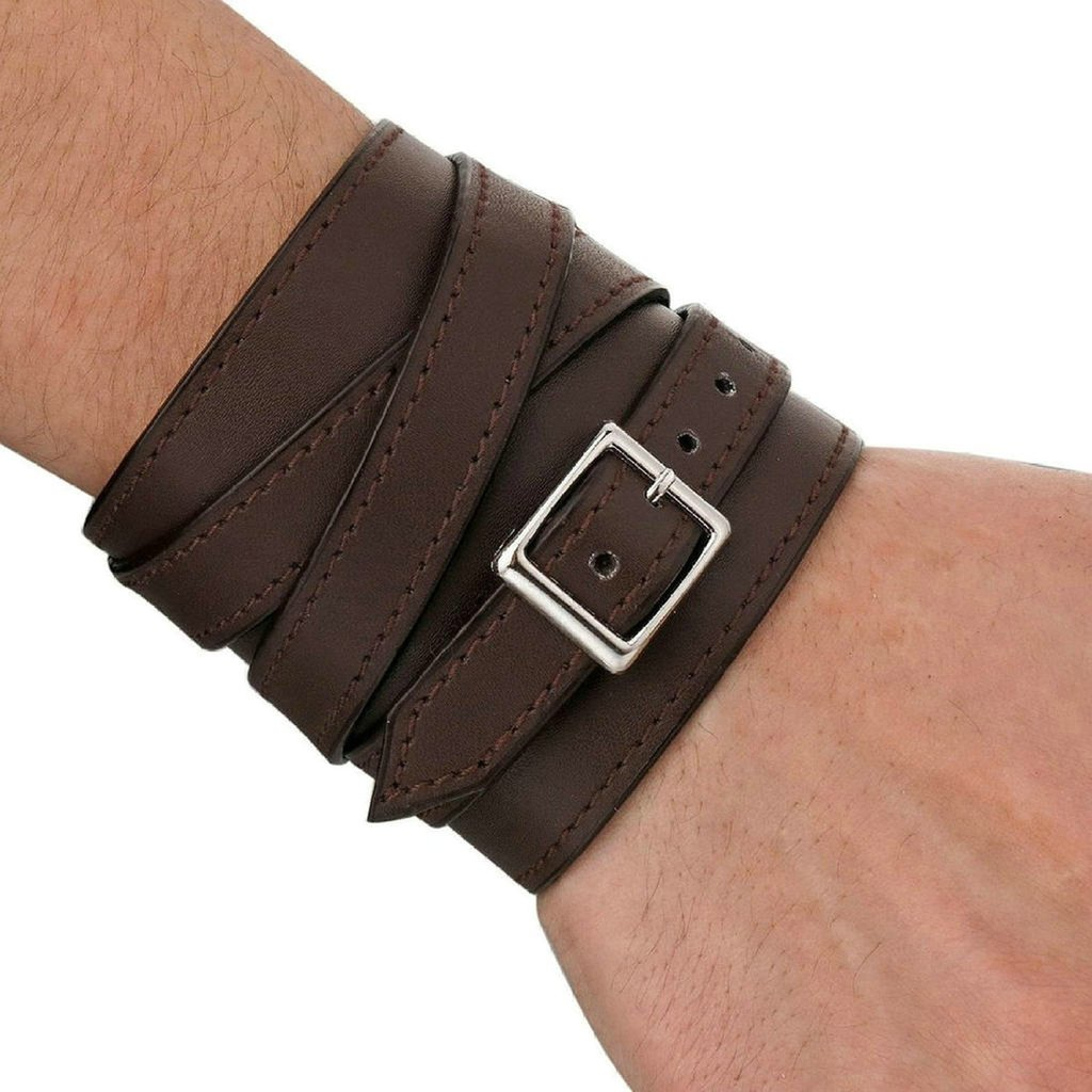 Mens Alloy Genuine Leather Bracelet Bangle Cuff Cord Biker Silver Brown
