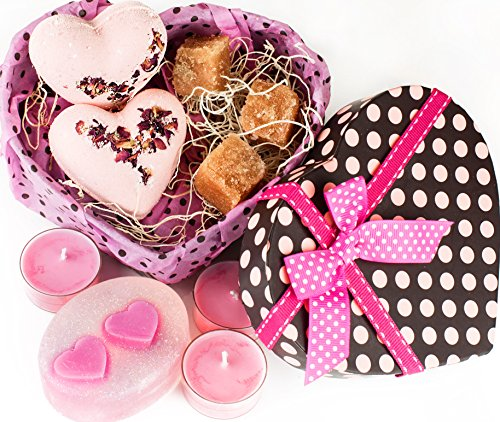 Valentine's Day Gifts Set For Women-Organic Handmade Basket With Relaxation Candles, Rose  ...