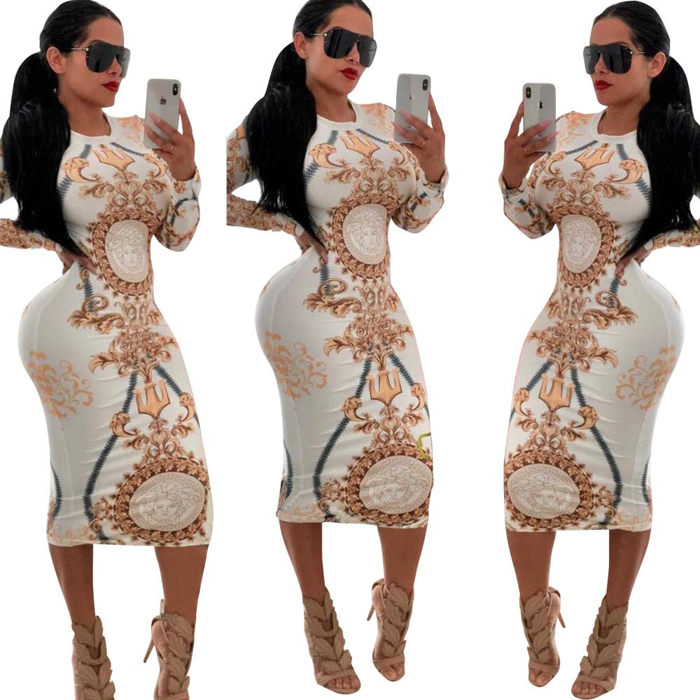 Unique Floral Pattern Sheath Midi Dresses Large White and Gold ThusFar Womens Long Sleeve Bodycon Dresses