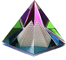 """H&D Crystal Glass Pyramid Paperweight with Gift Box,2.4""""H (Style-4)"""