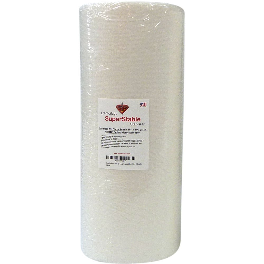 Invisible No-Show Mesh Stabilizer White 1.5 oz 15 inch x 100 Yard Roll. SuperStable Embroidery Stabilizer Backing by Superpunch
