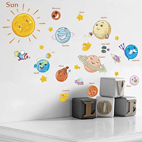 Amaonm Kids Room Wall Art Decor Decals Cartoon Removable Universe Space Planet Solar System Galaxy Diy Home Wall Stickers Decals Murals For