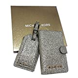 Michael Kors Travel Leather Box Set Passport Wallet Case /Luggage Tag (35H7XGFT10) Pale Gold
