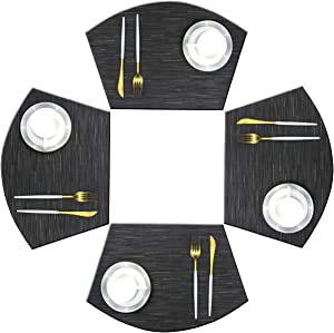 Bright Dream Wedge Placemats for Round Kitchen Table Woven Vinyl Non Slip Plastic Table Mats Set of 4(Black)