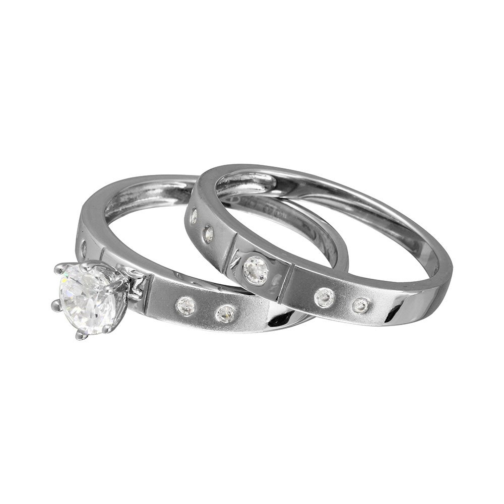 Clear Cubic Zirconia Half Matte Finish Maching Wedding Ring Rhodium Plated Sterling Silver