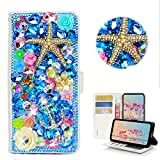 STENES Bling Wallet Phone Case Compatible with Moto E6 - Stylish - 3D Handmade Starfish Mermaid Anchor Flower Magnetic Wallet Stand Leather Cover Case - Navy Blue