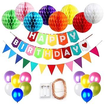 Fuentes de feliz cumpleaños decoraciones para niños, Happy Birthday Banner y 8 piezas Bolas de