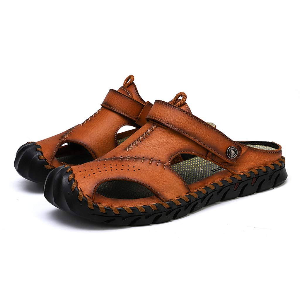 Leather Sandals for Men 2019 New Casual Lightweight Hiking Beach Water Shoes (US:9, Red 5) by Yihaojia Men Shoes
