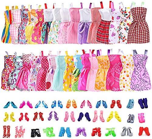 [해외]30팩 의상 파티 가운 바비 인형 30쌍 인형 액세서리 슈즈 수제 파티 소녀 생일 크리스마스 웨딩 선물 / 30 Pack Clothes Party Gown Outfits for Barbie Dolls30 Pairs Dolls Accessories Shoes for Birthday Christmas Wedding Supplies