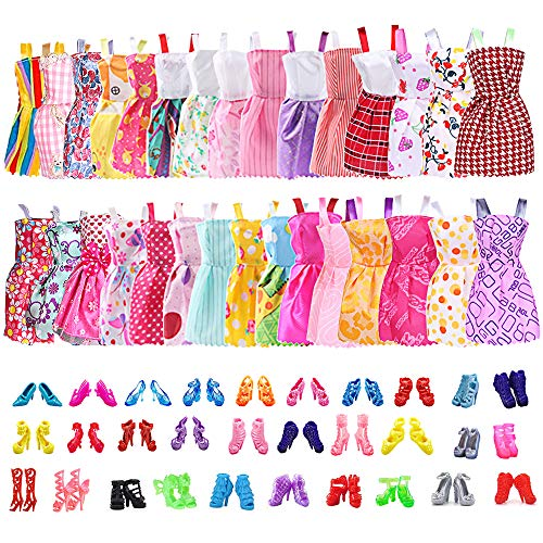 30 PCS Doll Clothes Party Gown Dresses and 30 Pairs Doll Shoes Ba-bie Fashion Dolls Accessories Birthday Christmas Wedding Gift