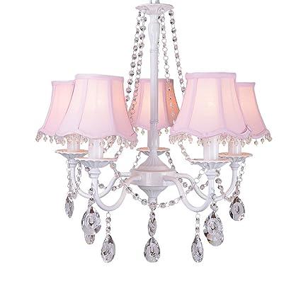 WPCBAA Sala de la Princesa araña de Cristal Rosa lámpara de ...