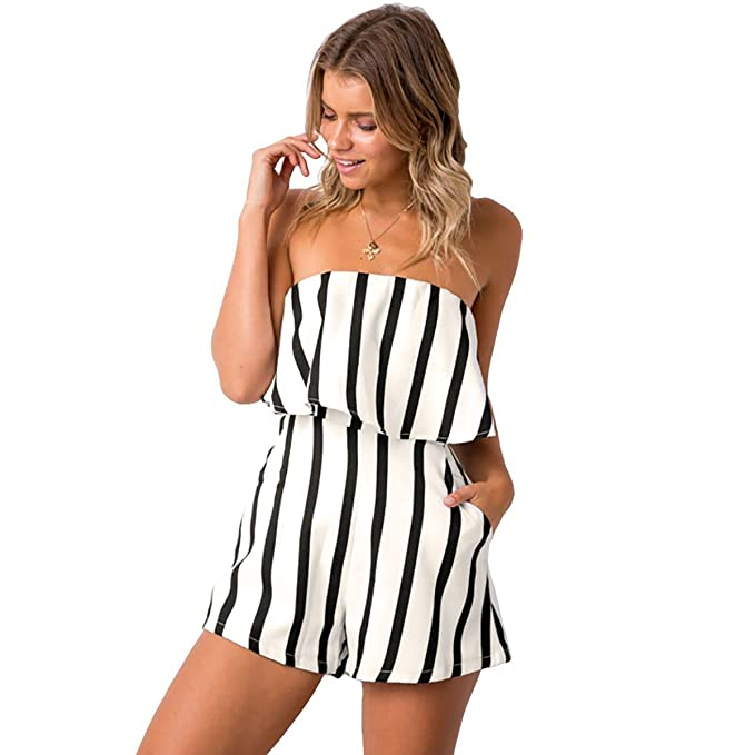 82b70e3a78d Women's Off Shoulder Cute Loose Blouse Crop Tops Rompers Pants at Amazon  Women's Clothing store: