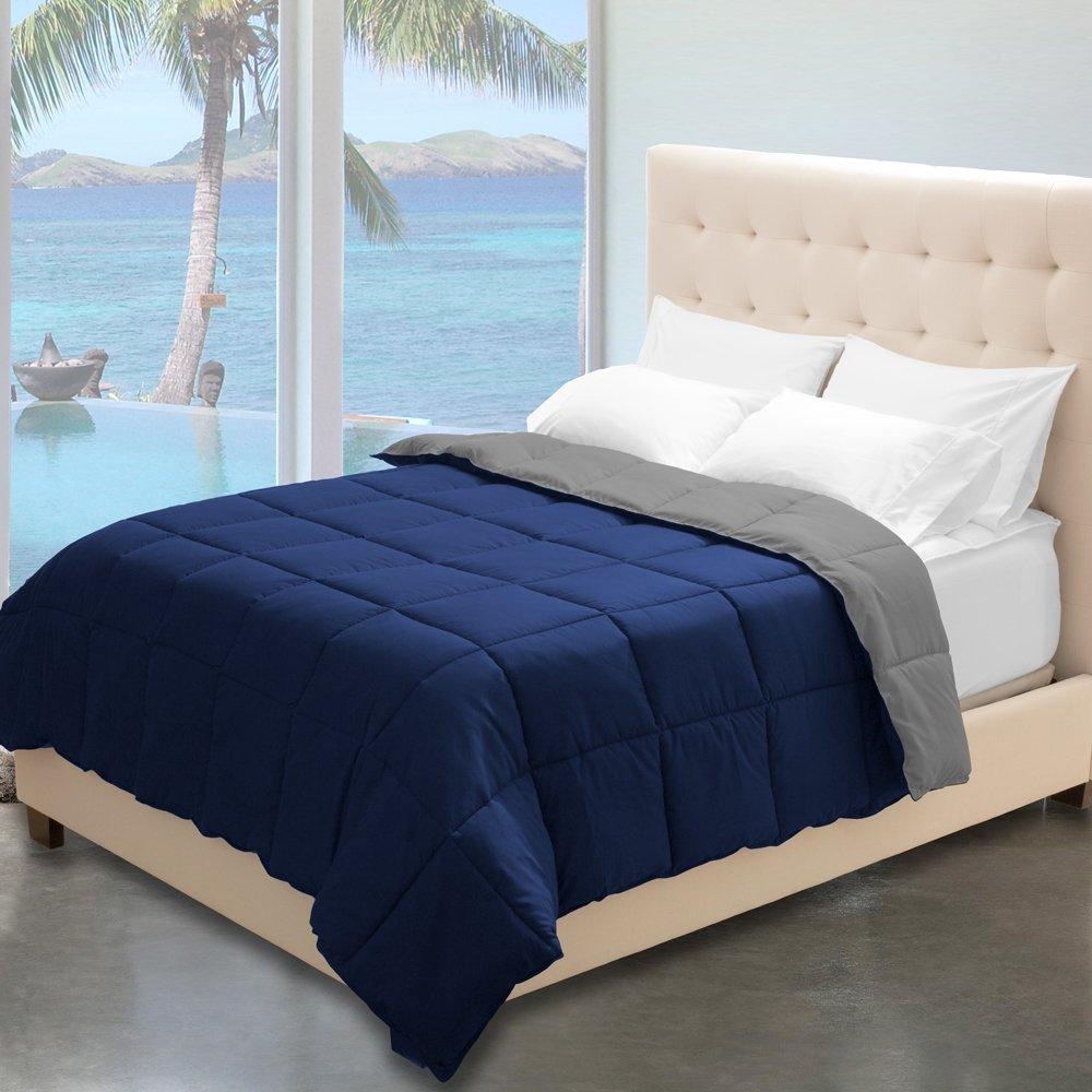 Reversible Premium Ultra-Soft Down Alternative Comforter Full/Queen, Dark Blue/Grey
