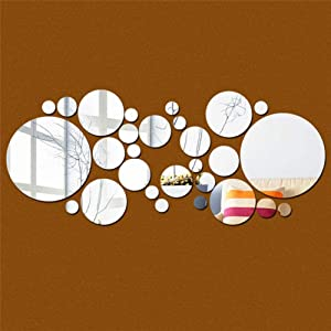 isilky 30pcs DIY 3D Acrylic Wall Sticker Mirror Effect Stickers Mural Children's Room Ceiling Bedroom Decor Decals Home Decorations