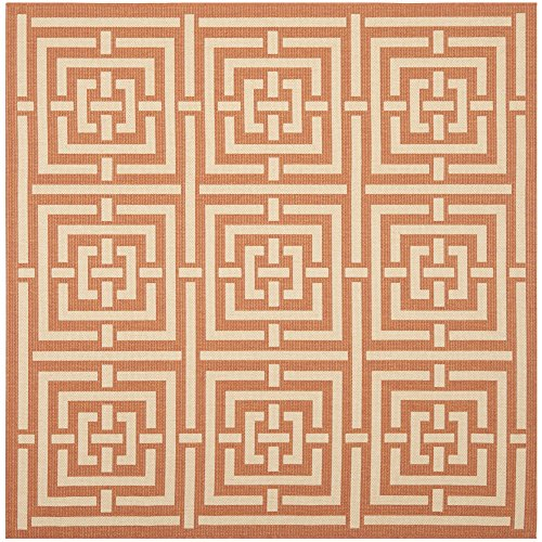 Safavieh Courtyard Collection CY6937-21 Terracotta and Cream Indoor/ Outdoor Square Area Rug (6'7