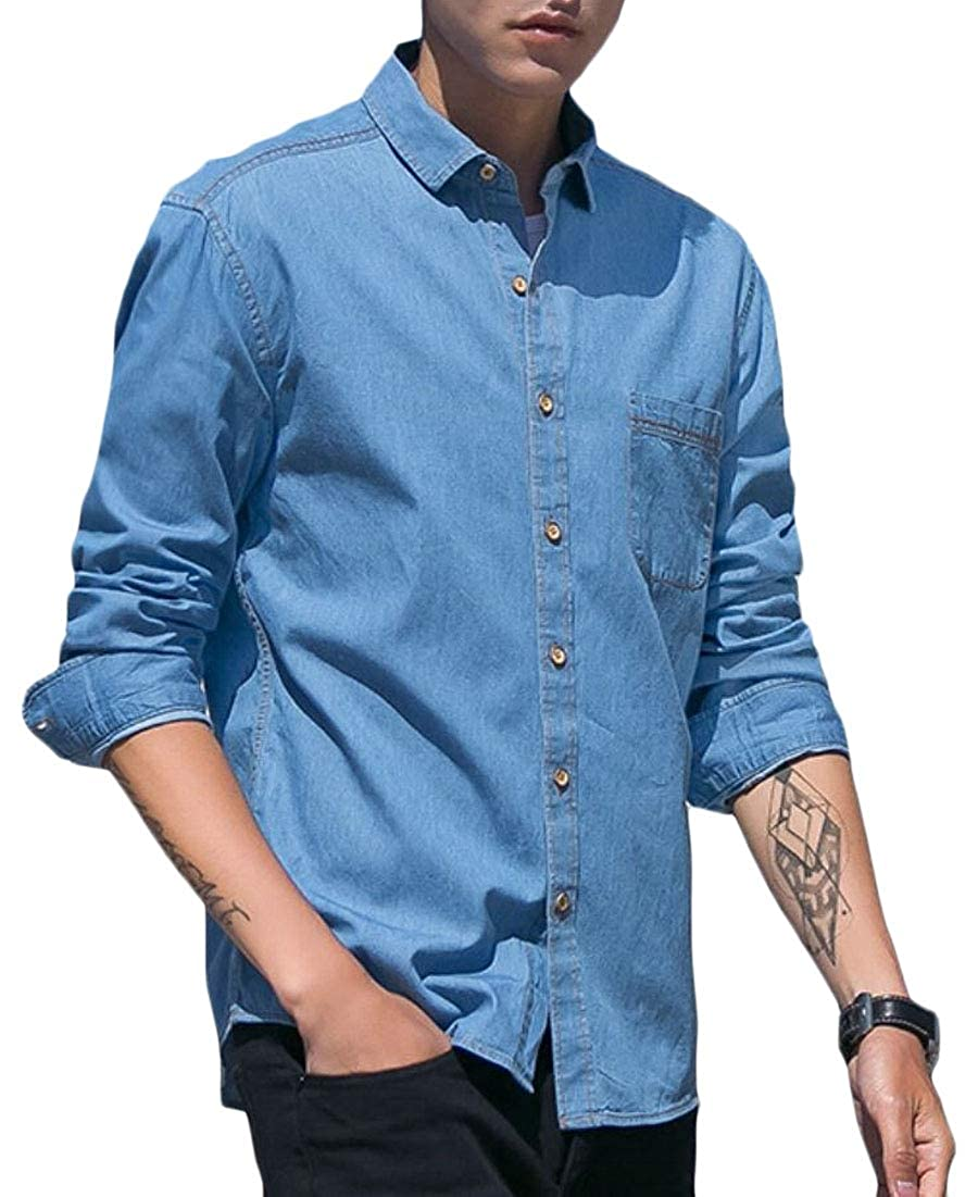 HTOOHTOOH Men Fashion Casual Vintage Denim Work Shirt Button Down Shirts Long Sleeve Shirts