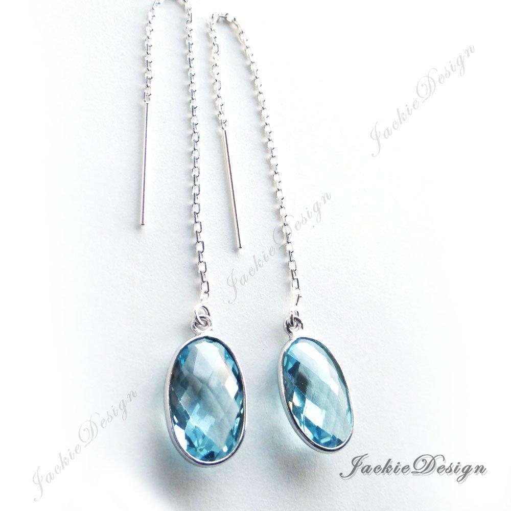 12mm Blue Topaz Quartz Minimalist Threader Sterling Silver Long Chain Earrings JD95