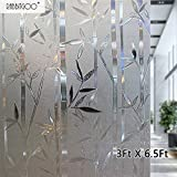 Rabbitgoo 3D 35.4in. By 78.7in. (90cm By 200cm) No Glue Static Cling Film Privacy Glass Bamboo Frosted Window Films
