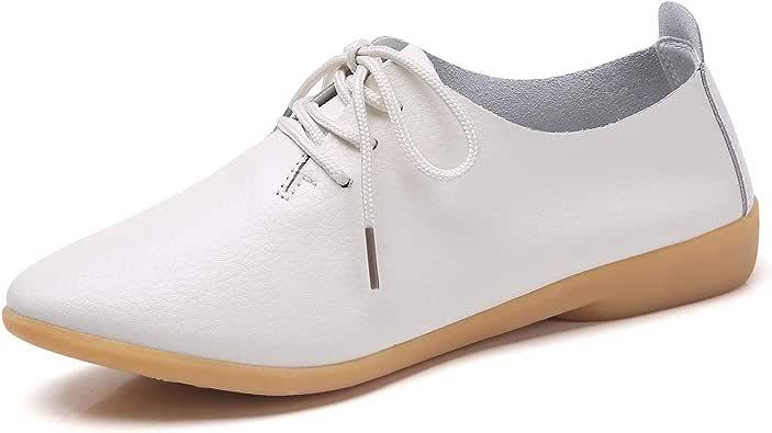 YUHUAWYH Mocasines Oxford con Cordones de para Mujer Calzado sin ...
