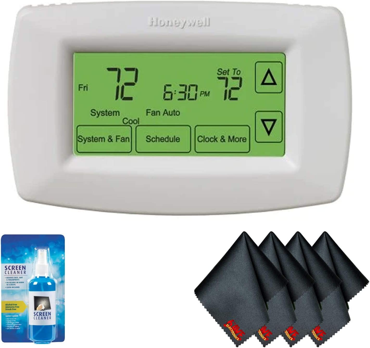 Honeywell RTH7600D 7-Day Programmable Touch Screen Thermostat with Screen Cleaning Kit and 1-Year Additional Warranty
