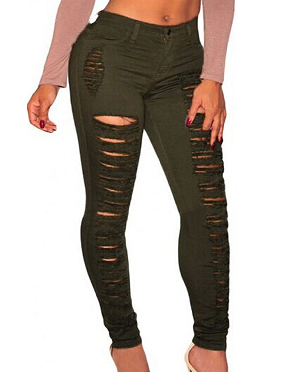 WANGSCANIS Women Skinny Jeans Mid Rise Ripped Distressed Denim Pants Army Green