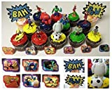 "Big Hero 6 Deluxe 21 Piece Cupcake Topper Set Featuring 6 Big Hero Party Cake Rings, Soccer Ball, Bam & Pow Signs, and 2"" Figures of Hiro Hamada, Baymax, Go Go Tomago, Honey Lemon, Wasabi and Fred - Includes Each in Their Super Hero Battle Suits"