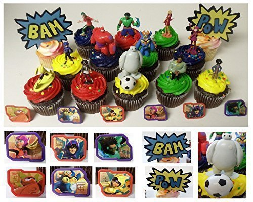 """Price comparison product image Big Hero 6 Deluxe 21 Piece Cupcake Topper Set Featuring 6 Big Hero Party Cake Rings,  Soccer Ball,  Bam & Pow Signs,  and 2"""" Figures of Hiro Hamada,  Baymax,  Go Go Tomago,  Honey Lemon,  Wasabi and Fred - Includes Each in Their Super Hero Battle Suits"""