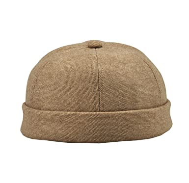 4b466e32ae YueLian Mens Winter Docker Hat Beanie Adjustable Cap (Beige)  Amazon ...
