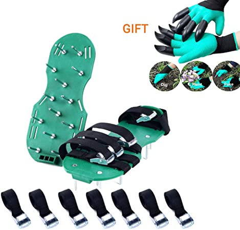 JIAFUM Zapatos de aireador para césped Zapatos con Pinchos de jardín Guantes para jardín Correas Ajustables Hebillas de Metal Resistentes para airear su césped o Patio,Green: Amazon.es: Hogar