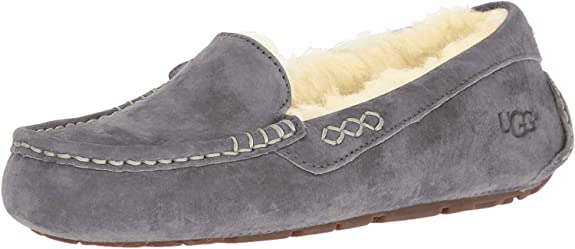 UGG Women's Ansley Moccasin, Light Grey, 8 B US best women's slippers