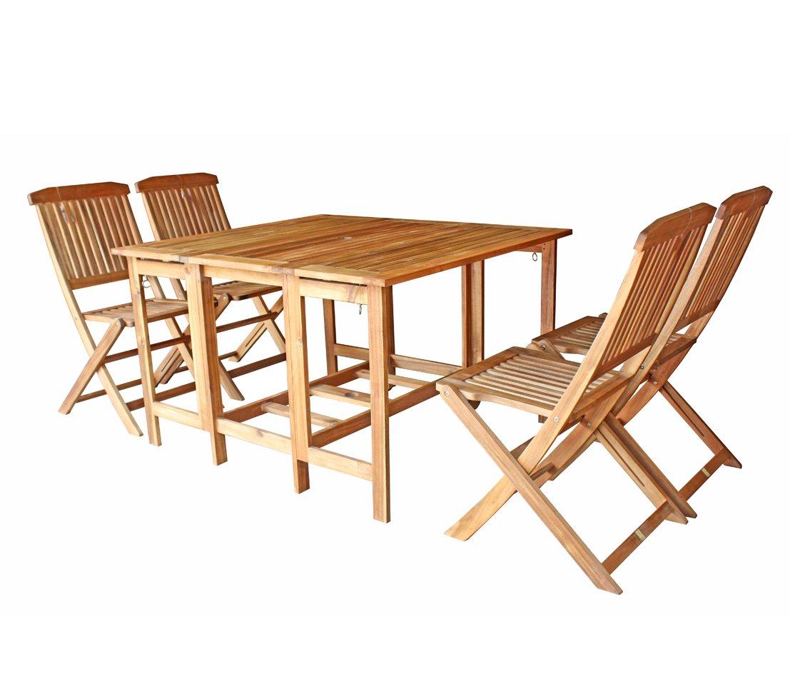 Dehner Balkongruppe Madera, Tisch ca. 120 x 108 x 75 cm, Stuhl je ca. 92 x 58 x 47 cm, FSC Akazienholz, natur