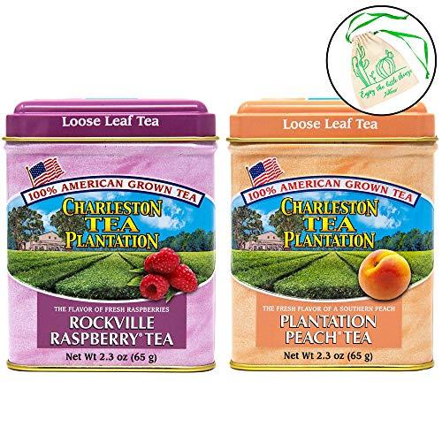 Charleston Tea Plantation Loose Leaf Herbal Tea Set of 2 - Plantation Peach, and Rockville Raspberry in 2.3 oz Tins, with Drawstring ()