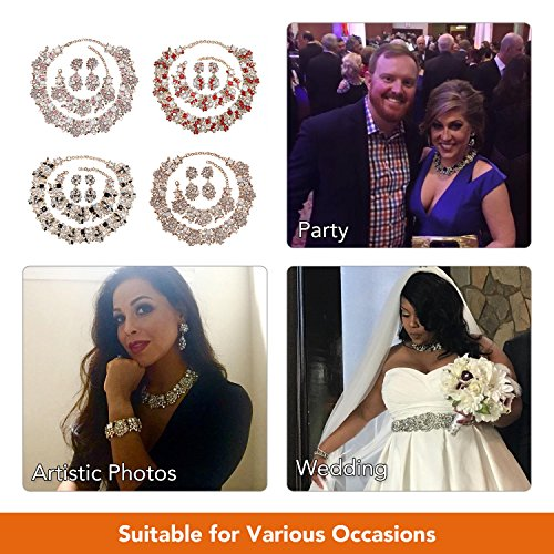 Holylove Chunky Crystal Necklace for Women Fashion Necklace Bracelet White 1 Set Retro Style Gift Box-8041SW3PCS by Holylove (Image #4)