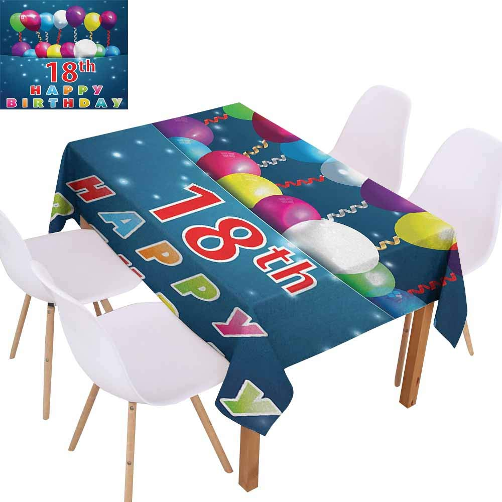 UHOO2018 18th Birthday,Easy Care Tablecloth,Party Time with Colorful Flying Balloons on Star Like Backdrop Happiness,Great for Tabletop Decoration,Blue and White,55''x90''