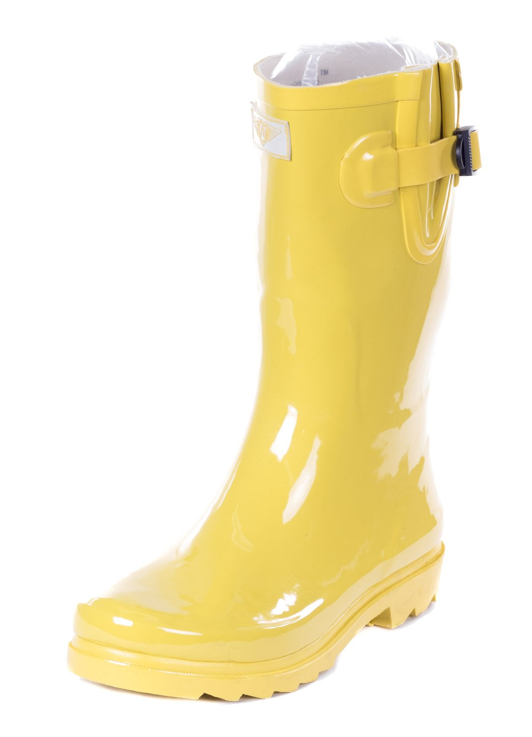 Forever Young Women's Yellow Rubber 11-inch Mid-Calf Rain Boots 9