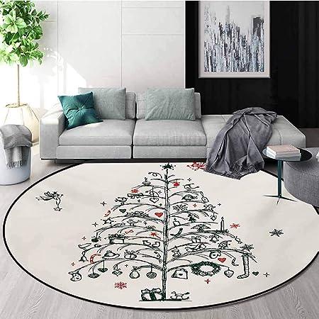 RUGSMAT - Tapis Rond de Noël avec Branches de Sapin et Houx ...