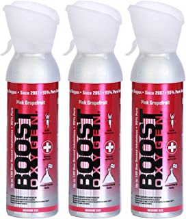 product image for Boost Oxygen Supplemental Oxygen to Go | All-Natural Respiratory Support for Health, Wellness, Performance, Recovery and Altitude (5 Liter Canister, 3 Pack, Pink Grapefruit)