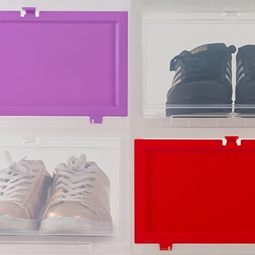 Iris Ohyama 135466 Eudf-m Jeu De 3 Cajas De Zapatos Plastique Gel Blanco / Morado Parme 35,5 X 28 X 54 Cm)