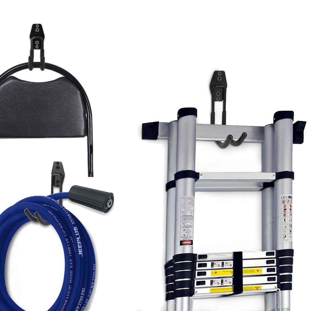 Garage Hooks,Coan Garage Storage Hooks,Black Heavy Duty Wall Mount Organizer Tool Storage for Power Tools,Ladder Hooks 8 Pack