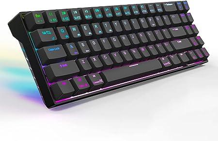 MQUPIN RK71 ROYAL KLUDGE - Teclado mecánico con Bluetooth, retroiluminación LED RGB, teclado mecánico para gaming, para ordenador de sobremesa, ...