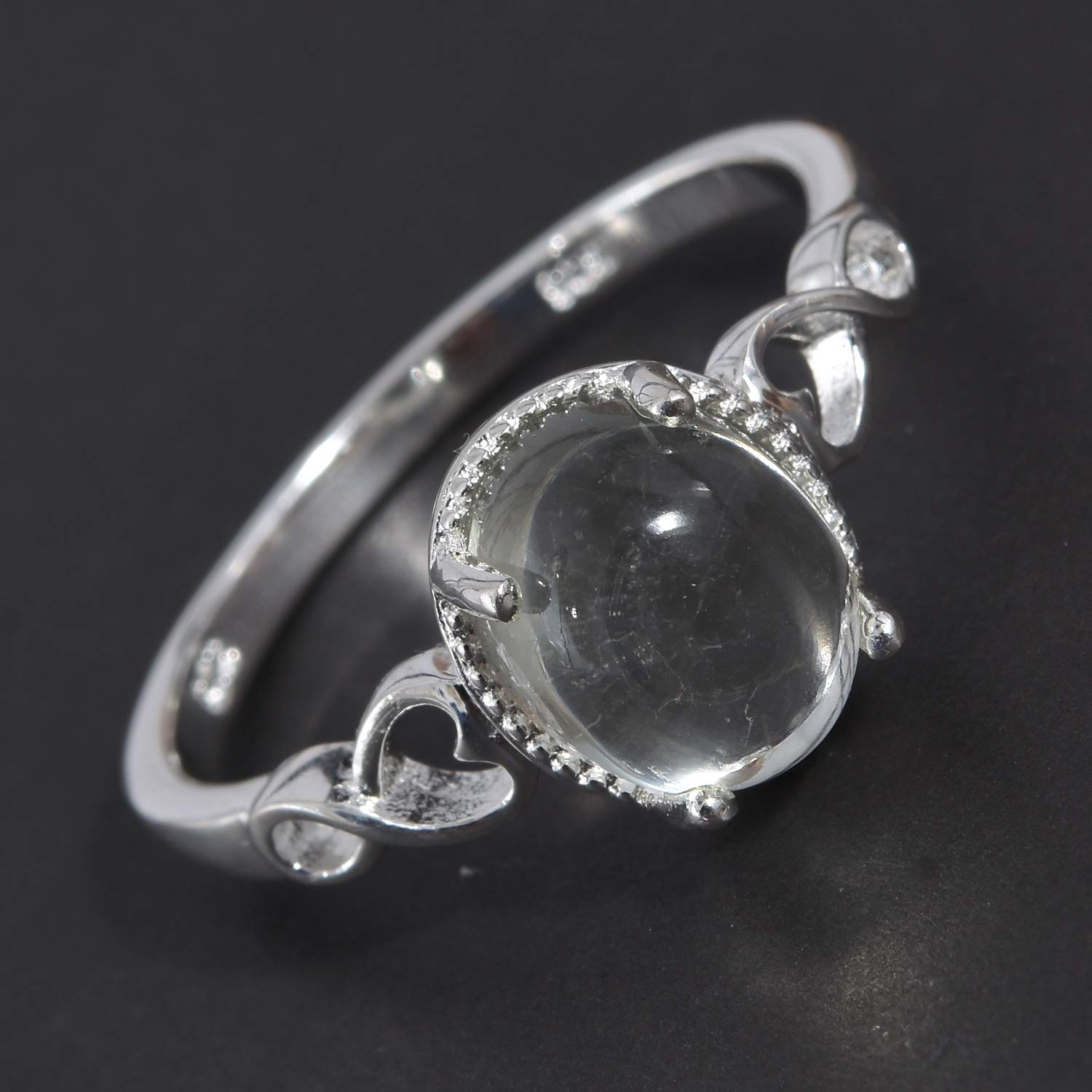 Solitaire Ring 925 Sterling Silver Oval Green Amethyst Gift Jewelry for Women Size 8