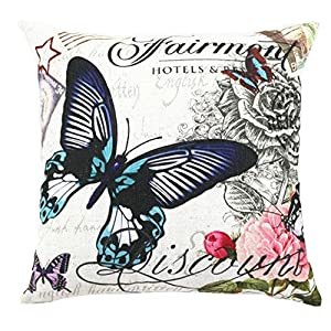 Throw Pillow Cover Pattern With Zipper : Amazon.com: Butterfly Floral Printed Multi-sized Cushion Cover LivebyCare Linen Cotton Throw ...