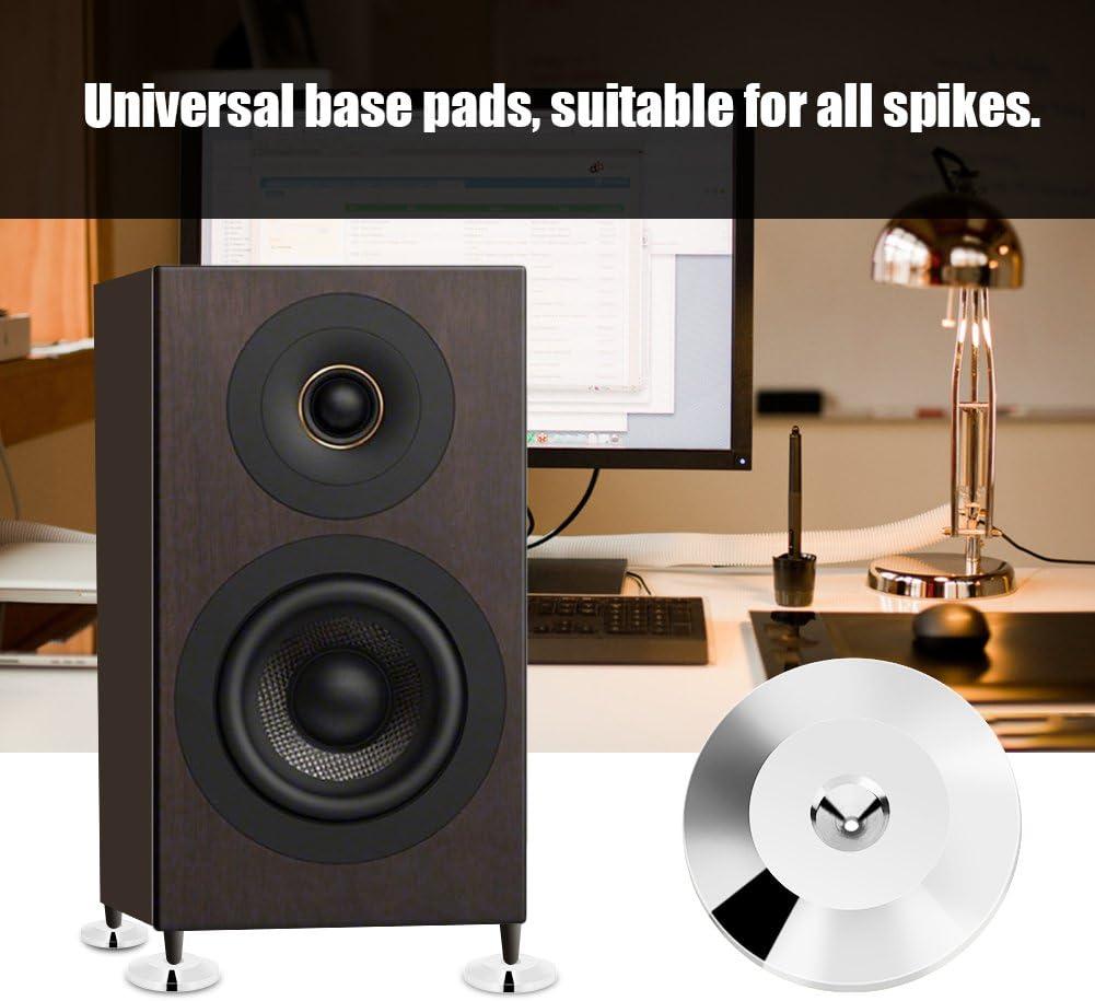 Tihebeyan Speaker Base Pad Gun Color 8 Pcs Universal Copper Speaker Spikes Pads Speaker Shock Base Pad Isolation Stand Feet Cone Base Mats Floor Disc